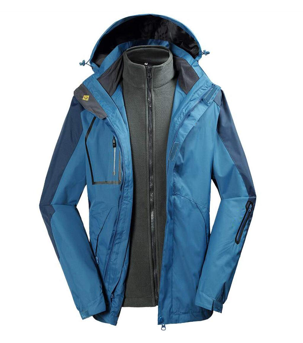 bleu 2 3XL DAFREW Veste imperméable pour Hommes, Hiver 3 en 1 Coupe-Vent et Combinaison de Ski Chaude (Grande Taille M-3XL) (Couleur   bleu 2, Taille   XL)
