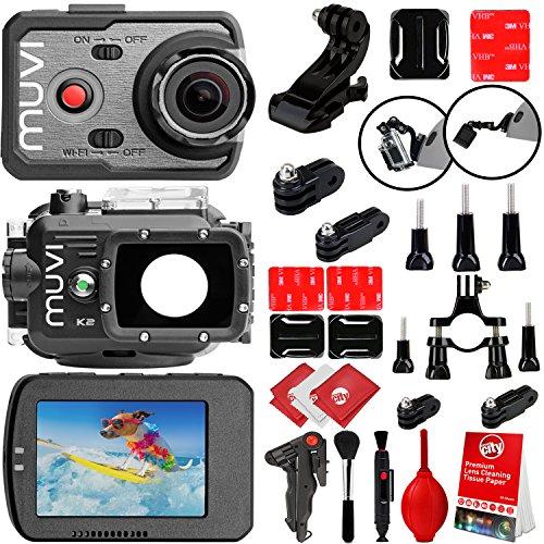 VEHO MUVI K-Series K-2 Pro 4k 16MP Wi-Fi Sports Action Cameraw/ 12PC Starter Kit (VCC-007-K2PRO)