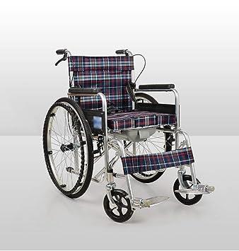 BEI-YI Silla de Ruedas Plegable Manual de Cuatro Frenos para discapacitados Estructura de Acero metálica para discapacitados Silla de Ruedas Plegable para ...