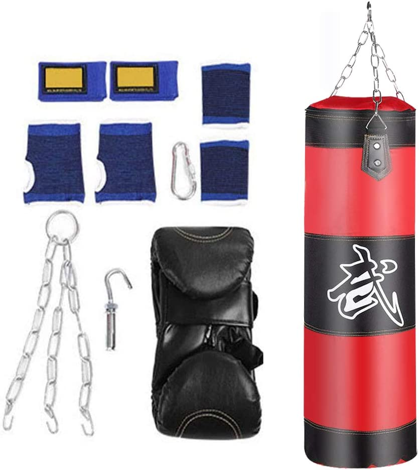 VGEBY1 Saco de Boxeo, Guantes de Boxeo MMA Muay Thai Kick Boxing Artes Marciales con Soporte Pared Cadena Guantes Punching Bag Soporte para Colgar Saco de Boxeo(1.2m-Rouge)