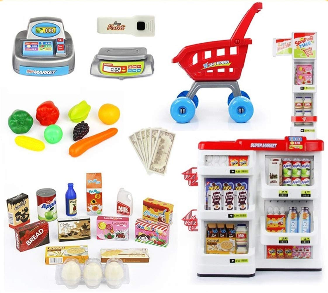 Food Shopping Cart Grocery Supermarket Stand Pretend Play w/ Realistic Food, Register w/ Lights and Sound