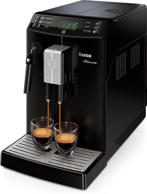 Saeco Minuto - Cafetera espresso super automática, con espumador de leche clásico, color negro: Amazon.es: Hogar