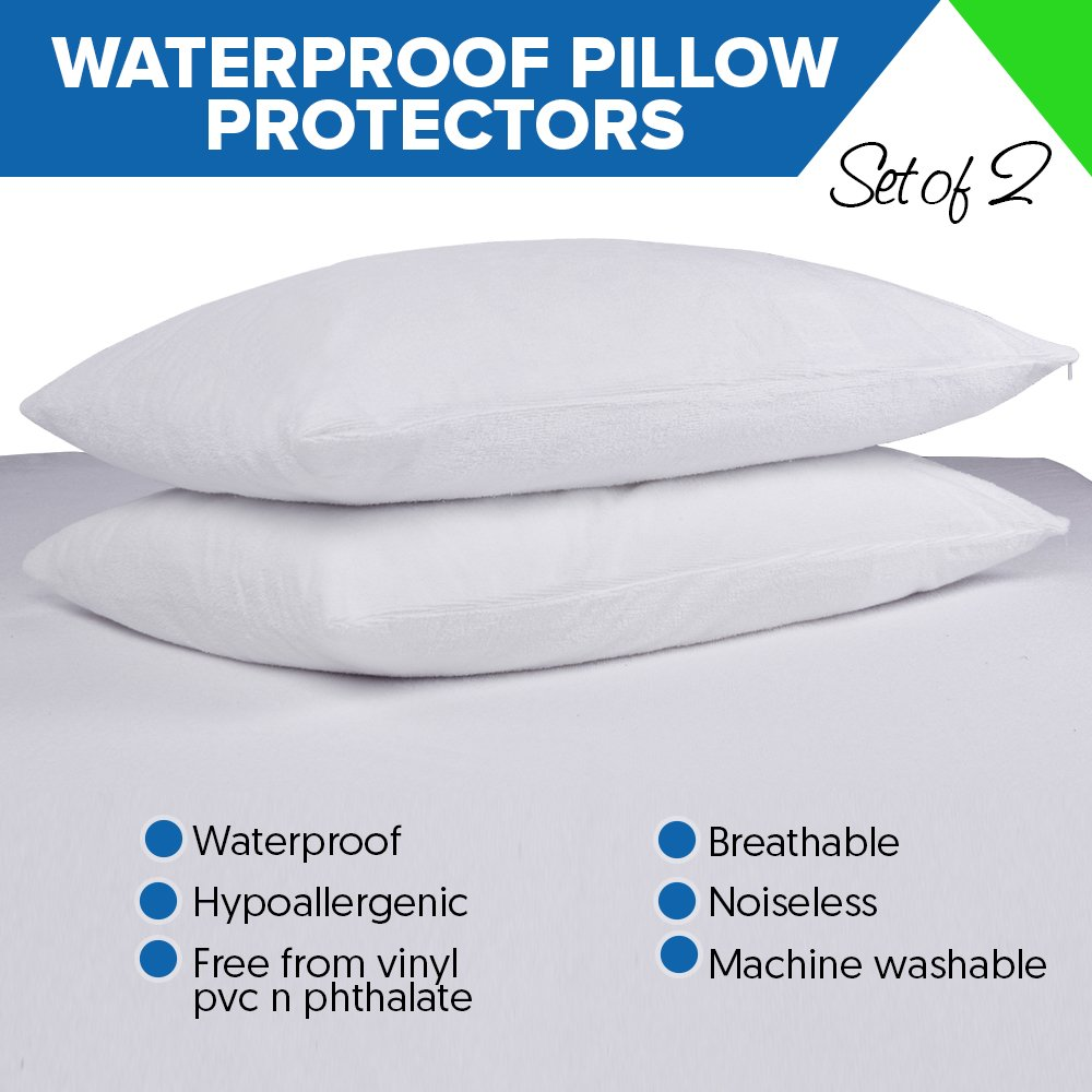 Set of 2 with 10 Year Warranty 8424 Vinyl Free /& Bed Bug Proof Zippered Pillow Protector PlushDeluxe Waterproof Pillow Protector Standard Size-100/% Hypoallergenic