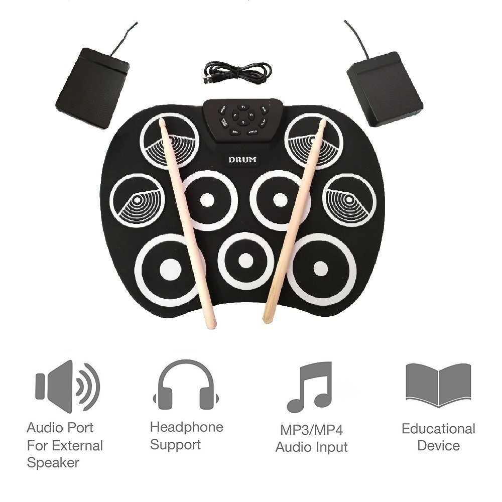 Youqian Portable Electronic Roll Up Drum Kit, USB Digital 9 Pad Foldable Practise Electronic Drum Set Musical Instrument for Kids Beginners Children (Headphone/Speaker Required for Use)