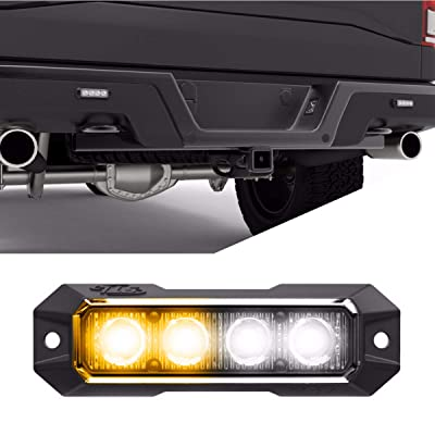 SpeedTech Lights Z4 12W LED Strobe Light for Police Cars, Construction Trucks, Service Vehicles, Plows, Emergency Vehicles. Surface Mount Grille Flashing Hazard Beacon Light Amber/Clear (Yellow/White): Automotive
