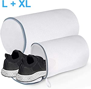 Youjia Laundry Bag for Shoes, Polyester Zippered Mesh Shoes Wash Bags, Washer and Dryer Safe Laundry Bag for Sneaker, Socks, Bras, Set of 2(XL+L)