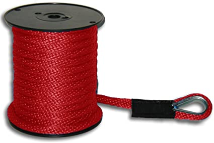 """Made in USA 3//8/"""" x 25/' Red Solid Braid Nylon Dock Lines"""