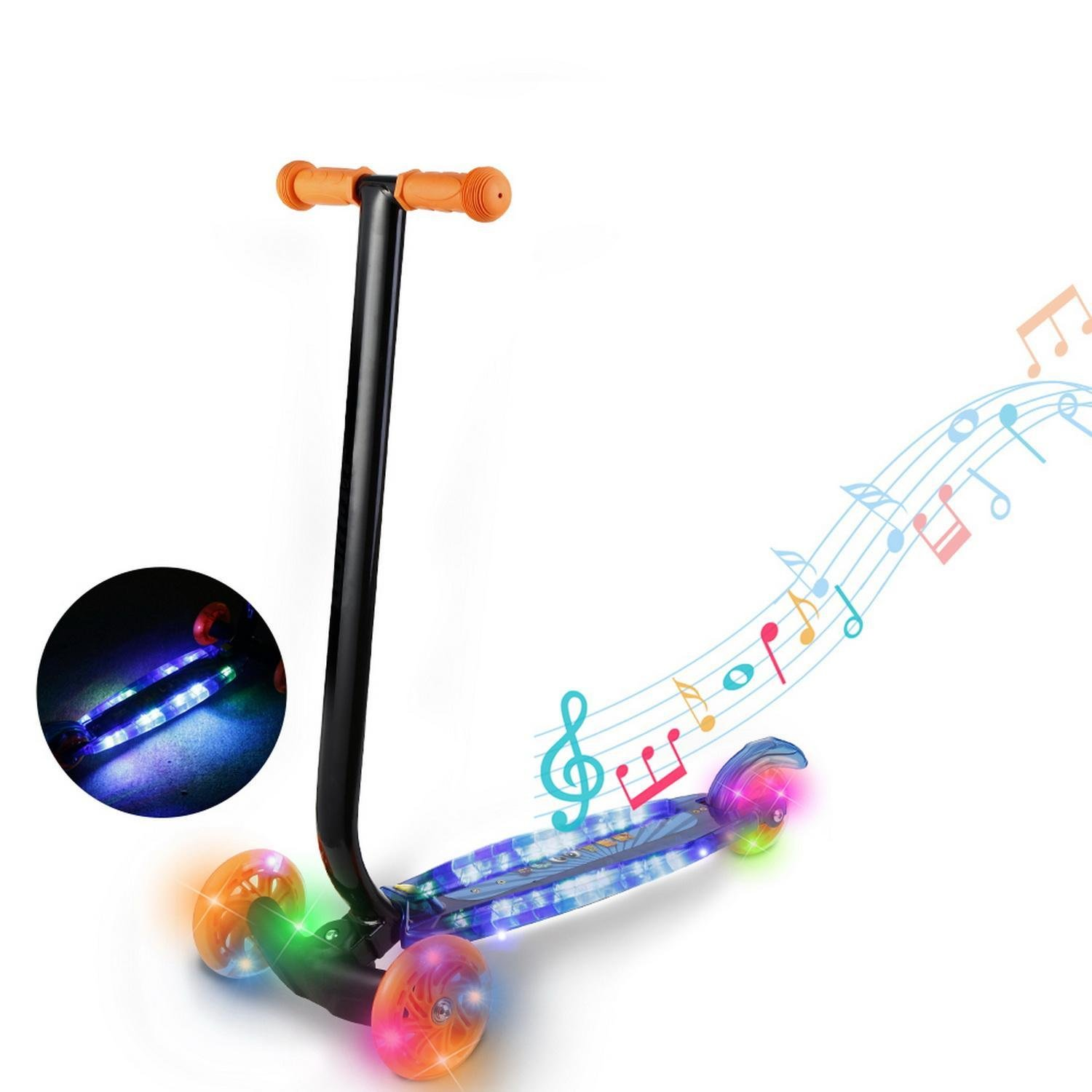 Kick Scooter for Kids Toddler 3-Wheel with LED Wheels and Music