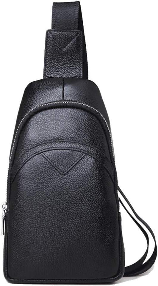 FeliciaJuan Chest Bag Backpack Men Multipurpose Soft Leather Sling Chest Bag Crossbody Bags Solid Chest Pack Single Shoulder Backpack Causal Daypacks for Hiking Cycling Travel Color : Black
