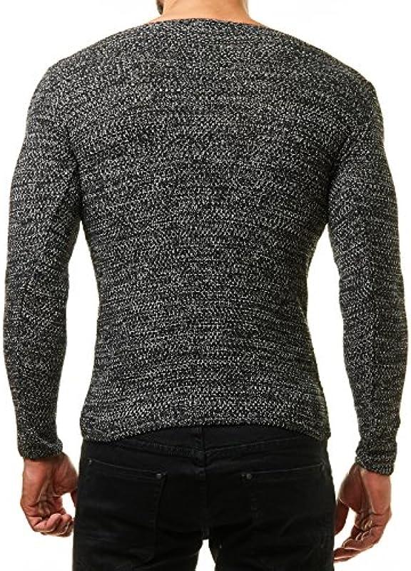 Męski sweter drobno tkany czarny biały BR1464 (Ef1464 Pullover), kolor: czarny , rozmiar: l: Odzież