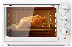 Toaster Oven, 120-Min Timer Convection Toaster Oven - 1400 Watts of Power, Stainless Steel, Includes Baking Pan , Broil Rack, Rotisserie Lift, Rotisserie Shaft, White