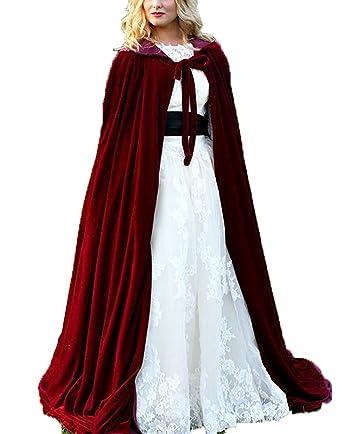 DESHE Velvet Bridal Hooded Cloak Christmas Capes Winter Long Jacket Wraps Burgundy One Size