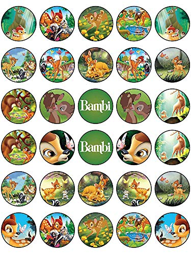(30 x Edible Cupcake Toppers - Bambi Themed Collection of Edible Cake Decorations | Uncut Edible Prints on Wafer Sheet)