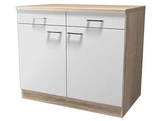 Flex well 00007535 unterschrank samoa weiß sonoma eiche 100 x 85 x 60 cm amazon de küche haushalt