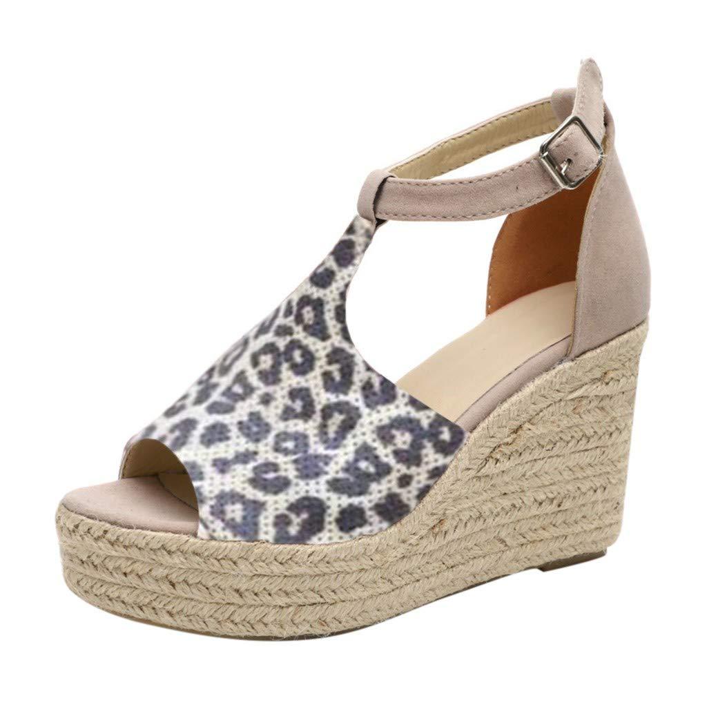 SSYUNO Women's Wedge Sandals Comfy Espadrille Summer Peep Toe Ankle Buckle Platform Wedges Heels Yellow