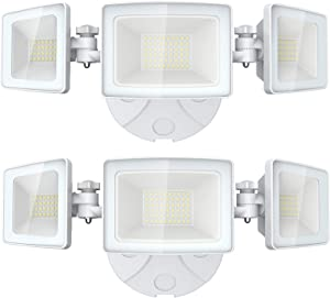 Olafus 2 Packs 5000LM LED Security Light, 50W Super Bright Flood Lights Outdoor, 3 Adjustable Heads, 6000K White Exterior Light, IP65 Waterproof Wall Mount Floodlight for Garage, Garden, Patio, Porch