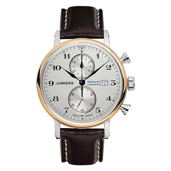 Junkers Reloj de Pulsera Cronógrafo Cuarzo Piel 65865: Amazon.es: Relojes