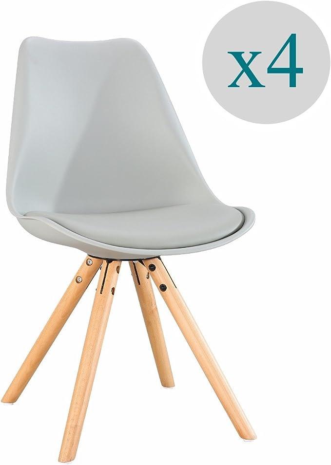 ARYANA HOME - Pack De 4 Silla nórdica Nordic Color Gris: Amazon.es ...