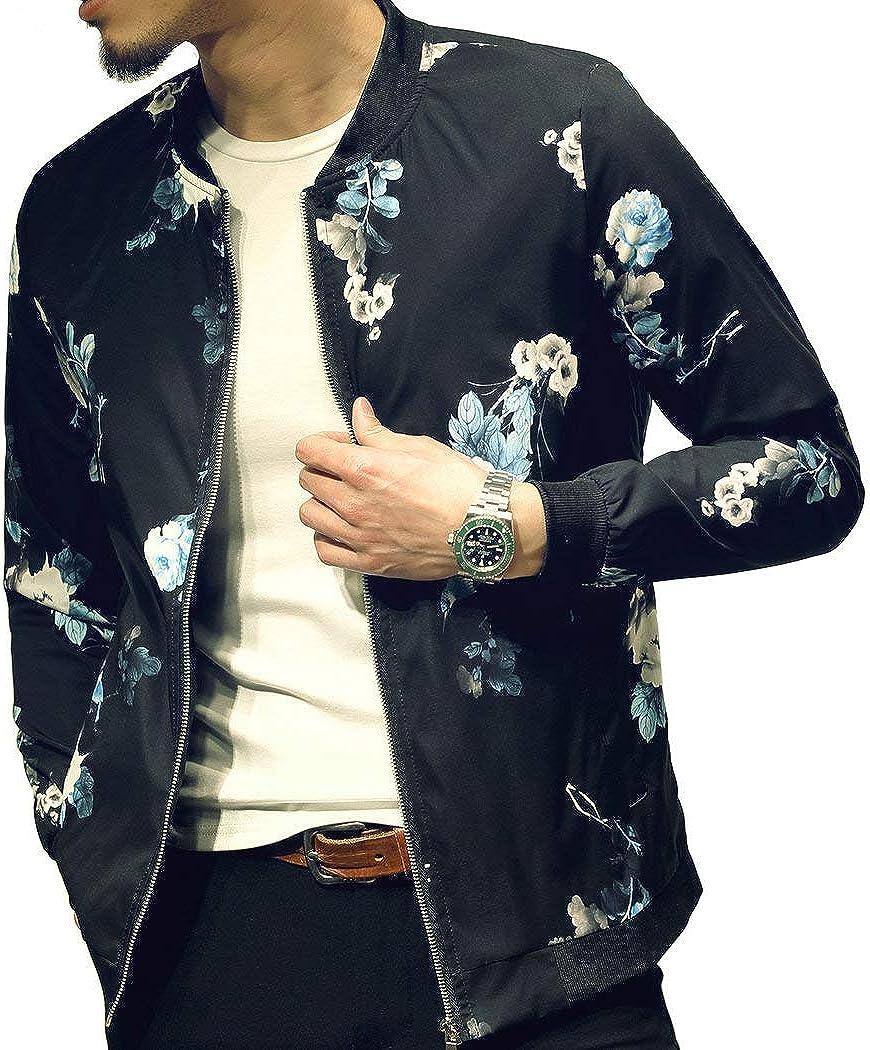 LOGEEYAR Mens Casual Lightweight Jacket Stylish Fashion Printed Pattern  Slim Fit Bomber Jacket Varsity Coat with Zipper at Amazon Men's Clothing  store