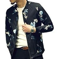 54b97371ec72 LOGEEYAR Men's Bomber Jacket Casual Slim Fit Printed Outerwear Coat