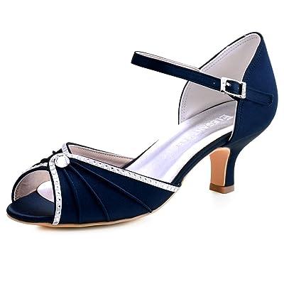 ElegantPark HP1623 Women's Sandals Peep Toe Mid Heel Pumps Pleated Crystal Satin Wedding Dress Shoes | Pumps