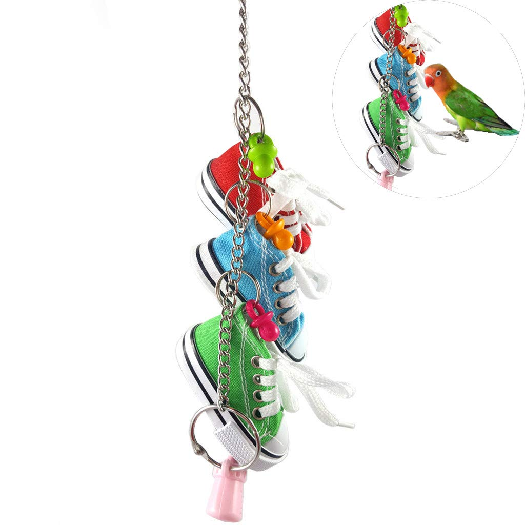 Whryspa Birds Pets Parrots Ladders Climbing Toy Chewing Toy with Natural Wood Stairs Pet Toys,B by Whryspa