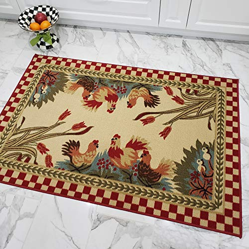 (Maxy Home Cucina Rooster 3 ft. 3 in. x 5 ft. Kitchen Area Rug)