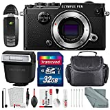 Olympus PEN-F Mirrorless Micro Four Thirds Digital Camera (Black) with Deluxe Accessory Bundle and Cleaning Kit