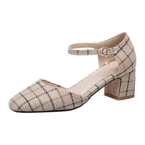 Coolulu Zapatos Hebilla Tira Mujer Escoceses Con Cuadros D'orsay hQdxtsrC