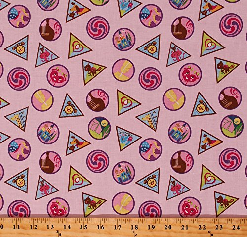 Cotton Girl Scout Badges Girl Scouts GSUSA Scouting Skills Achievements Awards Merit Badges on Pink Cotton Fabric Print by The Yard (C6771-PINK) ()