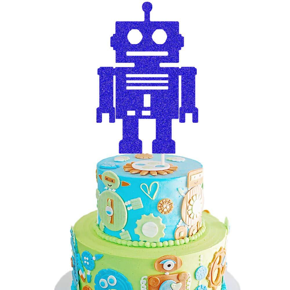 Enjoyable Robot Cake Topper Robot Baby Shower Cake Decor Android Robot Personalised Birthday Cards Epsylily Jamesorg