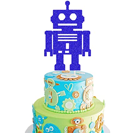 Groovy Robot Cake Topper Robot Baby Shower Cake Decor Android Robot Funny Birthday Cards Online Alyptdamsfinfo
