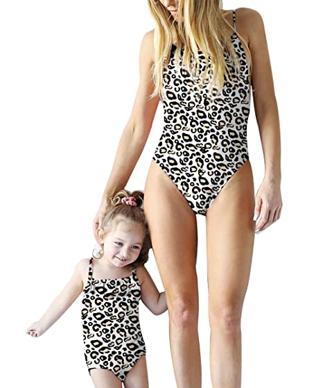 020cfbb7d0 Family Matching Swimsuit Mom and Daughter One Piece Swimwear Bodysuit Off  Shoulder Ruffle Bikini Bathing Suit