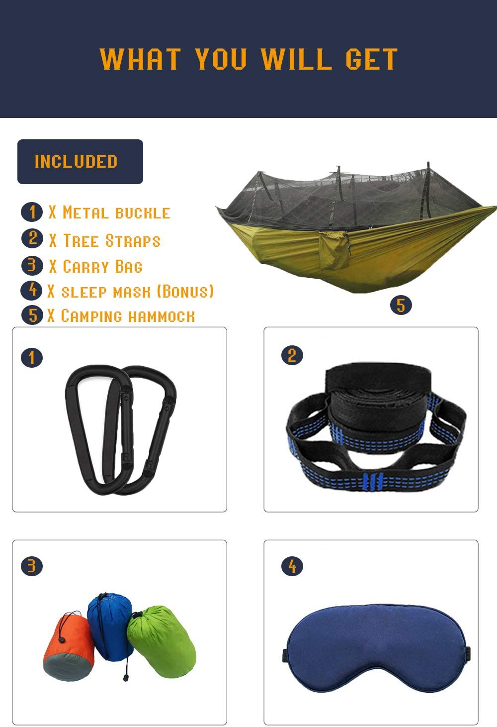 AEETT Camping Hammock with Mosquito Net and Rain Fly Double Hammock and Tree Hammock for Outdoor Hiking Campin Backpacking Travel