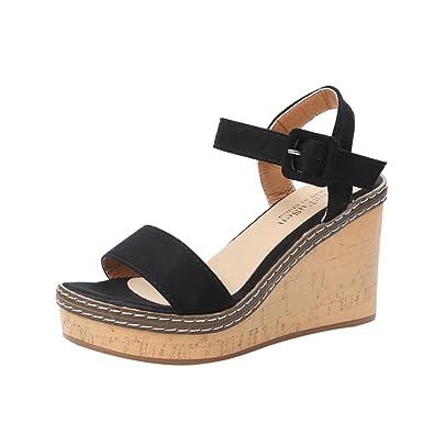 98c1cebb04555f LHWY Sandalen Damen Sommer Keile Wedge Sandalen High Heel Wasserdichte  Plattform Offene Zehe Wort Schnalle Schuhe