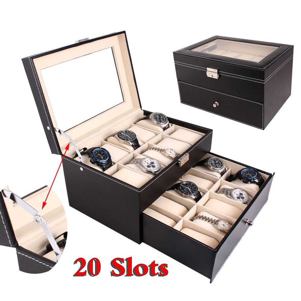 Mefeir 20 Slot Watch Collection Box Leather Display Case Organizer Top Glass Jewelry Storage (20 Slot)