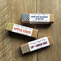 Organic Lip Balm Gift Set Made in Maine Natural Essential Oils Beeswax Cuticle Cream