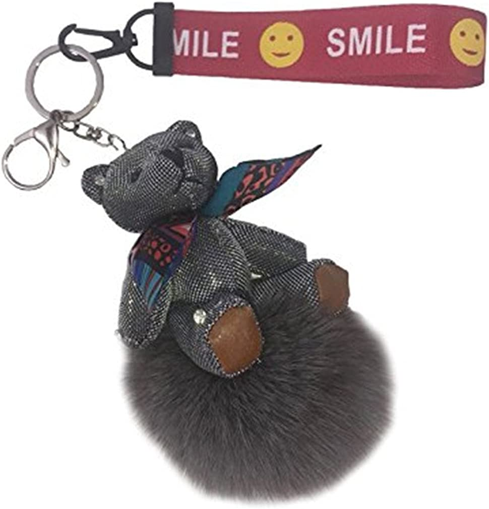Youngate Faux Fox Fur Pom Pom Keychain Fluffy Fur Ball Bag Purse Charm Key Ring