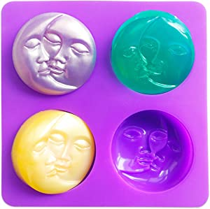 Sun & Moon Silicone Soap Molds, 4 Cavity Crescent Moon Face Silicone Soap Mold for Homemade Lotion Bar, Bath Bombs, Polymer Clay, DIY Candle Resin Making