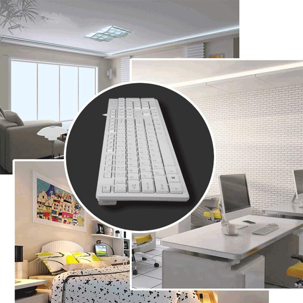 Guanwen Gaming Keyboard,Wired USB Waterproof Floating Keycap Ergonomic Multimedia Office Keyboard Support Windows 10//8 // Vista//XP Linux Color : White Mac