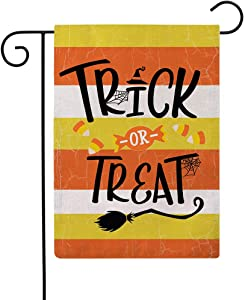 ULOVE LOVE YOURSELF Trick or Treat Garden Flag Double Sided Yellow/Orange Striped Happy Halloween Burlap Garden Flags 12.5 x 18 Inch for Farmhouse Yard Outdoor Holiday Decor