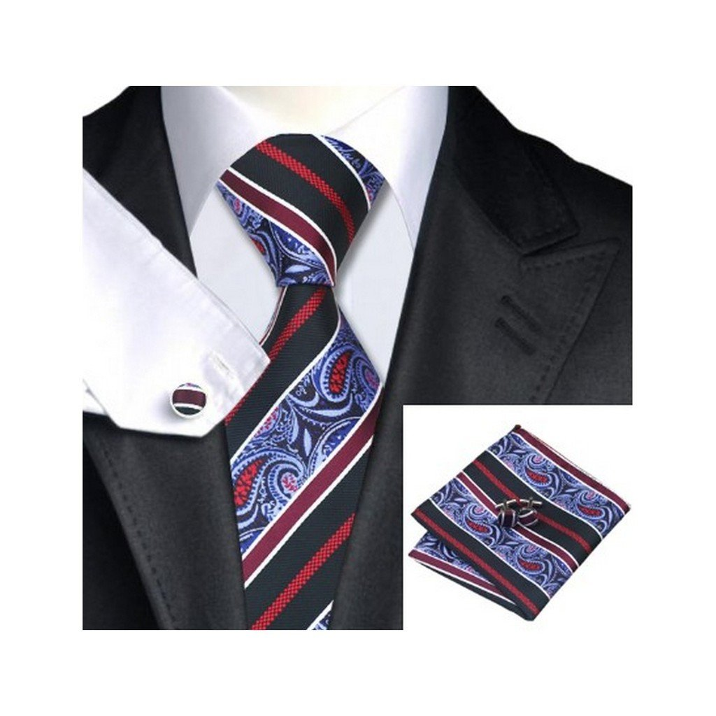 Black Red Stripes Classic Silk Necktie Tie Hanky and Cufflinks Set For Men