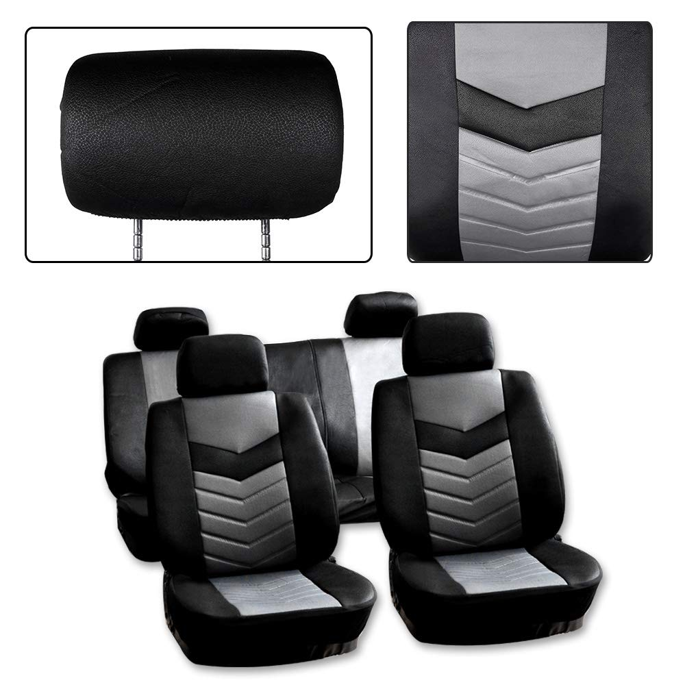 SCITOO Universal Black Car Seat Cover w//Headrest Covers 9PCS Breathable Semi-PU Leather Retractable Auto Seat Cover Replacement for Most Cars