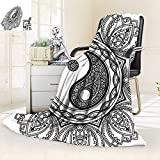Warm Microfiber All Season Blanket Decor Mandala Circle Floral Indian Style Decorations Bohemian Print Meditation Yoga Arts Black,Silky Soft,Anti-Static,2 Ply Thick Blanket. (62''x60'')