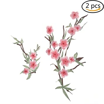 Motif Flower  Plum Blossom Sew//Iron on Applique Patch Craft Embroidered