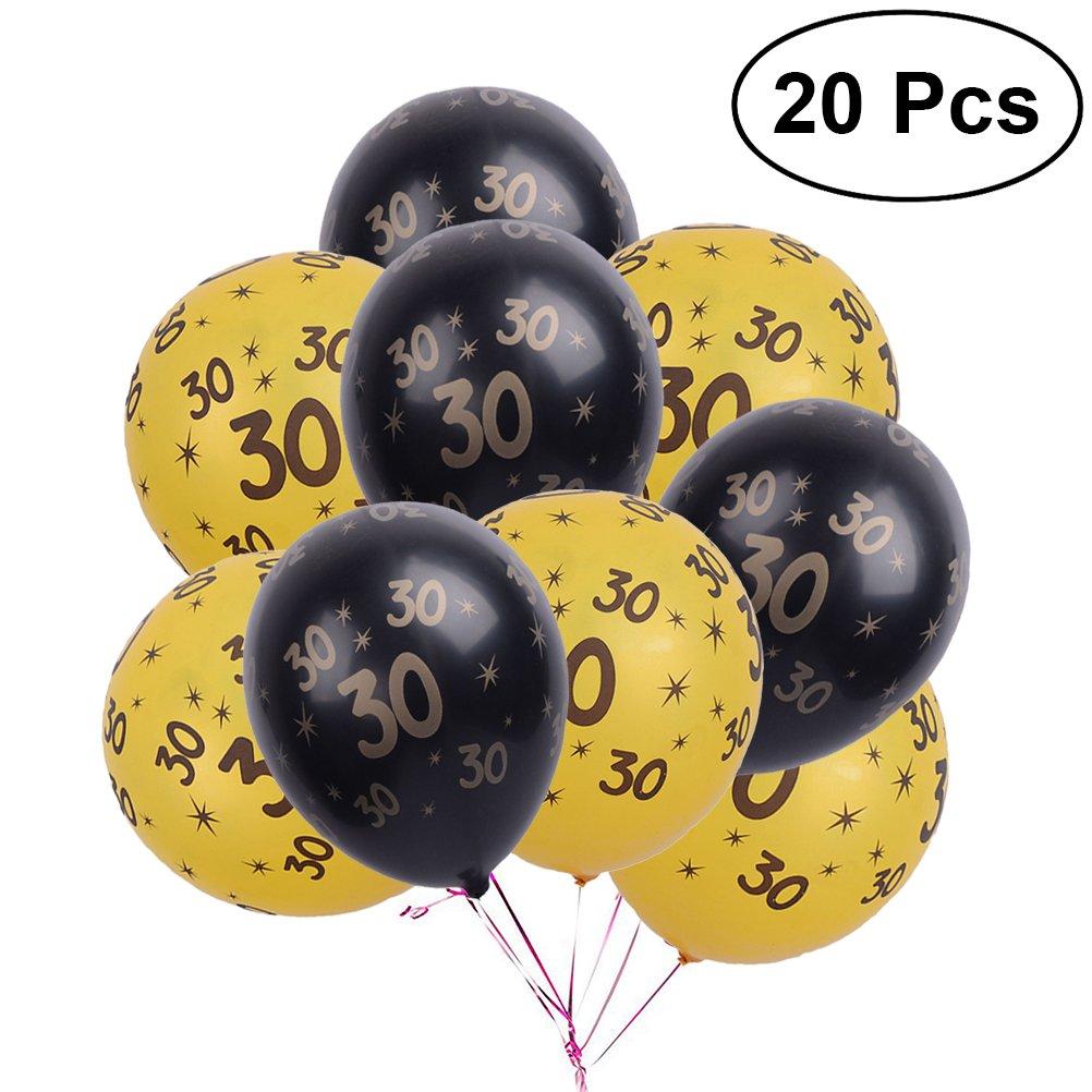 LUOEM Globos de látex Número 30 Globo de Fiesta para cumpleaños Decoraciones de Aniversario de Boda 12 Pulgadas 20 Piezas (Oro y Negro)