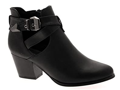 Womens Cut Out Ankle Boots Low Mid Block Heels Buckle Ladies Girls Shoes Chelsea Strap Black Size Uk