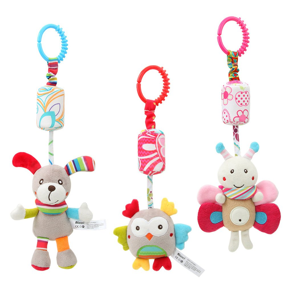 GFun 3 Pack Baby Infant Plush Animal Rattle Car Seat Adorable Hanging Bell Puppet Handbells Toy Stroller Crib Pram Ornament with Wind Chime for Kids