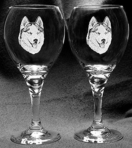 Muddy Creek Reflection Siberian Husky Dog Laser Etched Wine Glass Set (2, TDW)