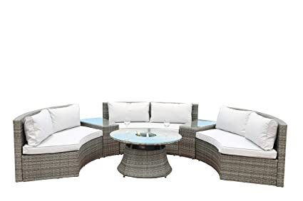 Phenomenal Direct Wicker Half Moon 6 Piece Rattan Sofa Set With Coffee Table And Drinks Cooler Grey Rattan Weave Machost Co Dining Chair Design Ideas Machostcouk